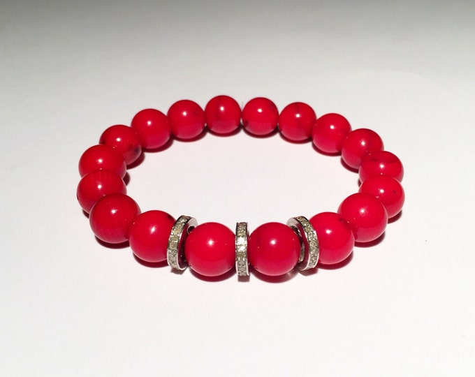 0.66 carat pave diamond and  red bamboo coral bracelet