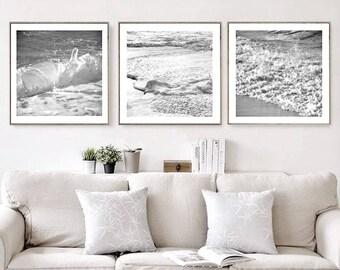 Nautical Decor Set of 3 Prints, Ocean Print, Black and White Ocean Photography Large Wall Art Prints Coastal Wall Art Printable Art Download