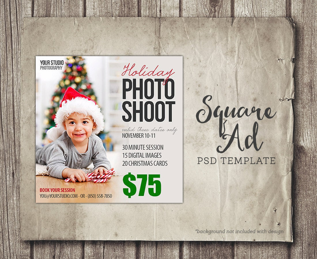 Holiday Christmas Facebook Ad Photographer Facebook Newsfeed - Photography ad template