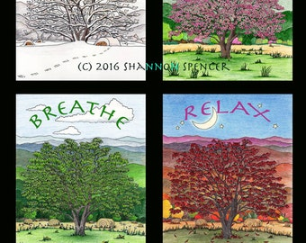Tree for All Seasons Art Print -  13x19 print, Peaceful, mountains, mindfulness, //Gifts for Her//
