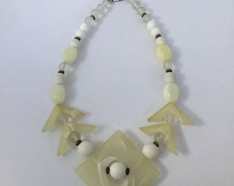 Carol Dauplaise Very Rare 80's White Lucite Necklace