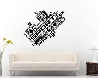 Sport Gym Running Exercise Training Healthy Lifestyle  Room Wall Sticker Decal Vinyl Mural Decor Art L2417