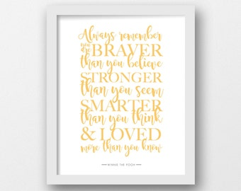 Always remember, Winnie the Pooh, Quote print, Disney quote, yellow prints, Minimalist, Modern wall art, Inspirational quote, Baby nursery