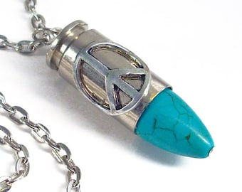 Upcycled Bullet Necklace Hippie Peace Bullet Jewelry - Turquoise and Silver Pendant