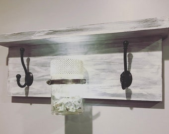Coat Rack Shelf with Lighting - Distressed Rustic Style