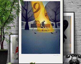 Goldfinger. Original illustration art poster giclée print signed by Paweł Jońca.