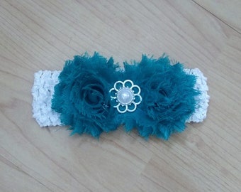 Baby Girl Headband, Flower Headband, Turquoise Headband, Baby Headband, Baby Hair Accessory, Infant Headband, Pearl Headband
