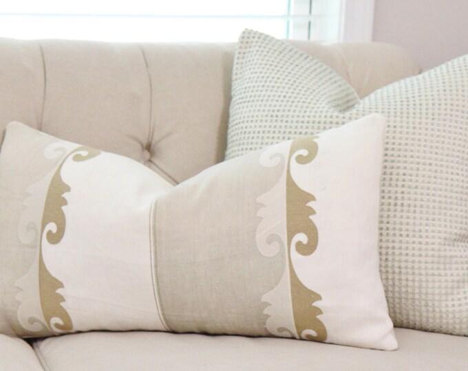 Designer Neutral Linen Pillow - Gray Gold and Ivory Pillow Cover - Gold Lumbar Pillow Cover- Color Block - Jim Thompson Pillow Cover