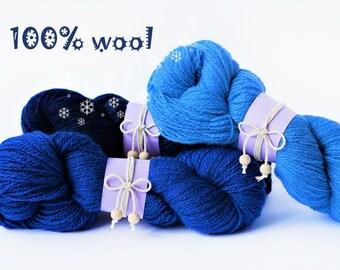 3pcs Wool yarn - wool knitting yarn - 300g(3pcs) - Colors Dark Blue, Navy, Royal Blue - Wool
