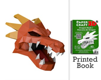 Dragon Mask Papercraft Book. A ready to assemble book with pre-scored, pre-cut pieces.