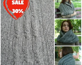 Knitted infinity scarf for women Wool neckwarmer Gray oversized scarf womens cowl Tweed loop scarf Knit circle scarf Christmas gifts for her