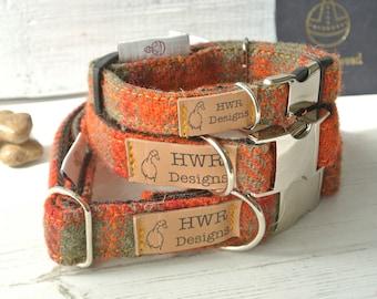 Harris Tweed Dog Collars,  Orange  Tweed Dog collar,Orange and Sage green Tweed Dog Collar. Designer dog collar