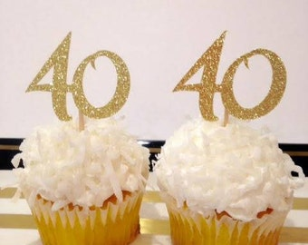 40th Birthday Cupcake Toppers / Milestone Birthday / Custom Cupcake Toppers in Sparkling Glitter!
