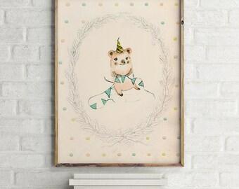 Happy Birthday, 8x10 inches, Woodland nursery decor, Nursery decor wall art, Woodland nursery wall art, Woodland animal nursery