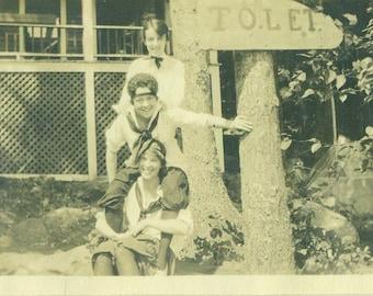 1920s Summer Camp Girls on Shoulders Cabin TOLET Sign 20s Vintage Photograph Black White Photo