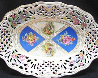 Schumann Bavaria Germany US Zone Floral Motif Pierced (Reticulated) Oval Bowl