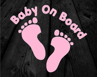 Baby on Board Child Safety Vinyl Decal with Footprint   Footprint Baby Car Decal   Baby Feet Decal   Car Sticker   168