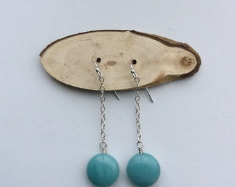 Amazonite Drop Earrings | Sterling Silver Ear wires and chain