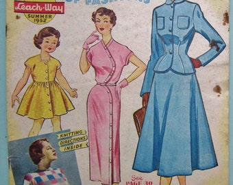 Vintage 1950s Leach-Way Catalogue of Fashions Spring 1952 - 50s sewing pattern magazine - wedding dresses swim sun suits coats lingerie