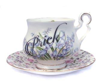 Prick Altered Vintage Teacup and saucer