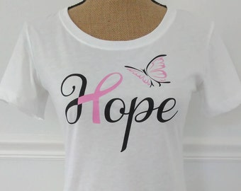 Hope Butterfly Graphic Tee,Breast Cancer Awareness Shirt,Pink Ribbon T-Shirt,Breast Cancer Support Ribbon Shirt,Cancer Pink Ribbon T-Shirt