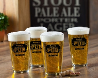 Personalized Pub Glass Set - Personalized Bar Glasses - Personalized Pint Glass Set - Gifts for Him - Groomsmen Gifts - GC783