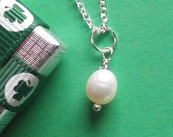 June Birthstone, Freshwater Pearl, Sterling Silver Chain,