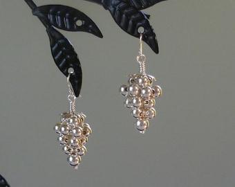 Grape Cluster Sterling Silver Dangle Earrings