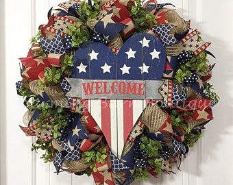4th of July Wreath, July 4th Wreath, Welcome Wreath, Patriotic Wreath, Front Door Wreath, July 4th Decor, Patriotic Decor, 4th of July