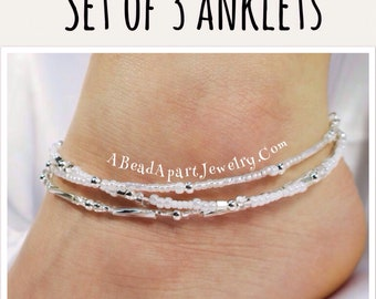 White Anklet Set, Ankle Bracelet, Minimalist Anklet, White Bracelet, Anklets For Women, Gift for Her, Beach Anklet, Beach Wedding, Trending