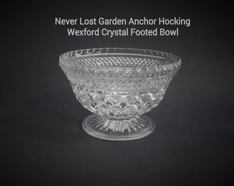 Anchor Hocking Crystal Wexford Glass Footed Bowl Vintage