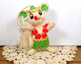 Flocked Mouse Christmas Ornament, Green Clothes, Kitsch Holiday Decor  (119-14)