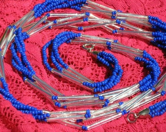 CobalT Blue Silver Glass Vintage Multi Necklace 4 Strand Trumpet Seed Woven Beads Unique Beaded Estate