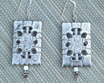 German Silver Rectangular Earrings