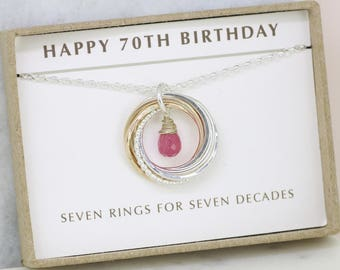 70th birthday gift, September birthstone necklace 70th, pink sapphire necklace for 70th birthday, gift for mom, grandmother - Lilia