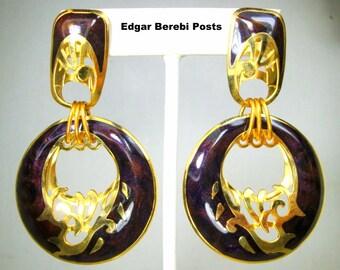 Berebi LONG Maroon Black & Gold Enamel Earrings, Art Deco 2 Part POST Dangles, Signed,  1980s, Slightly Used