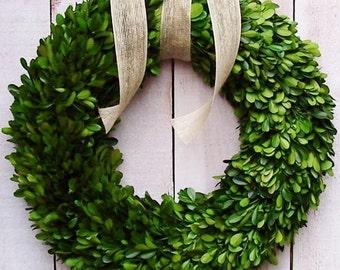 "16"" FRESH PRESERVED BOXWOOD Wreath-Spring Front Door Wreath-Spring Home Decor-Boxwood Wreath-Spring Wreath-Year Round Wreath-Summer Wreath"