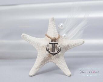White Starfish Boutonniere, Pin Corsage-Beach Wedding. anchor, jute twine, pearls, feathers, groom, groomsmen, fathers, destination wedding