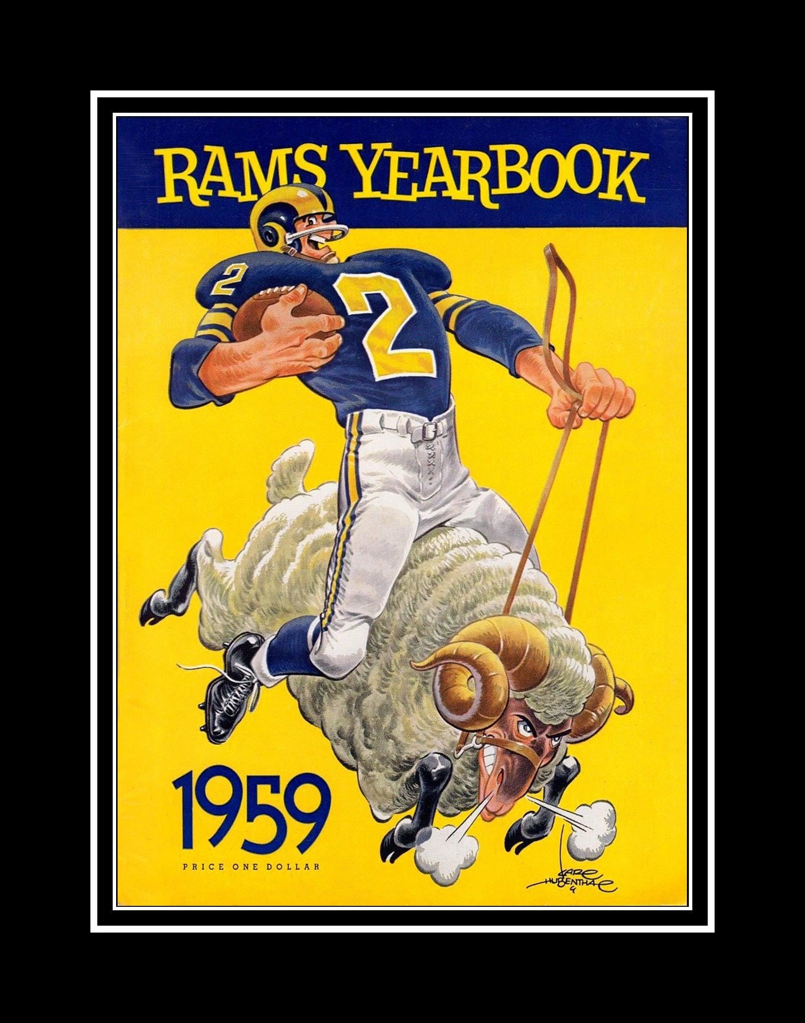 LA Rams 1959 Yearbook Cover Art Poster NFL Football Fan Wall