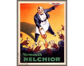 Vermouth Melchior Vintage Poster Vintage Art Print Classic Retro Style - Drinks - Waiter Advertising