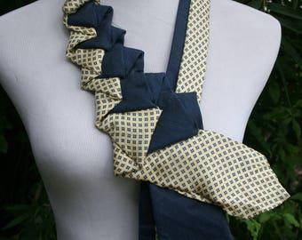 RecycledNeckties ~ Necktie Necklace ~ Calvin Klein BLUE Silk Tie /Vintage BEIGE Floral Tie - Women's Necktie - Necktie Scarf - Statement Tie