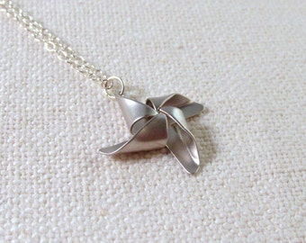 Sterling Silver Pinwheel Necklace, Modern Everyday Jewelry