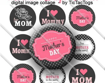 Mother's Day Sayings Bottle Cap Colorful Digital Art Collage Set 1 Inch Circle 4x6 - Instant Download - BC474