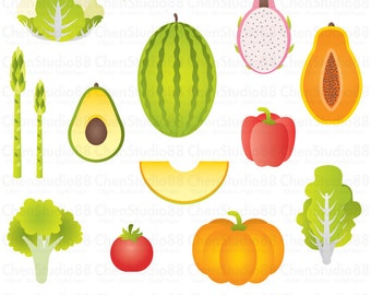 Fruit and vegetable vector - Digital Clipart - Instant Download - EPS, PNG files included