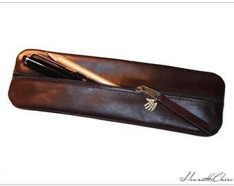 Pencil case / Pen bag / Pouch leather in dark brown for MEN  UNIQUE