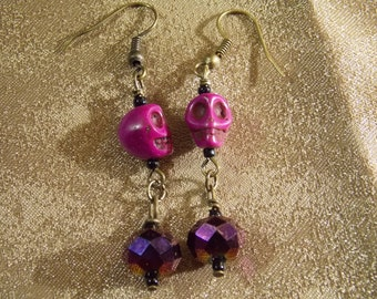 Skull Earrings Purple Howlite Skull Earrings  E23