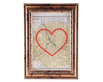 Atlanta Hand Embroidered Heart Map, Atlanta Map Print, Paper, Cotton Anniversary, Engagement Gift, Wedding, Valentine's, Travel, Her, Him