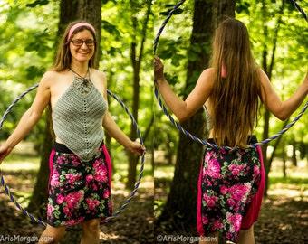 Hi-Lo Flower design - Handmade Upcycled T-shirt skirt - Festival Must Have - Yoga