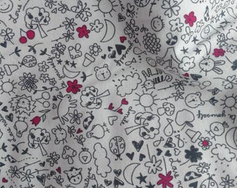 Doodle print knit, gray pink black, Cotton Jersey Knit, European, quality stretch knit,  sold by 1/2 yard!