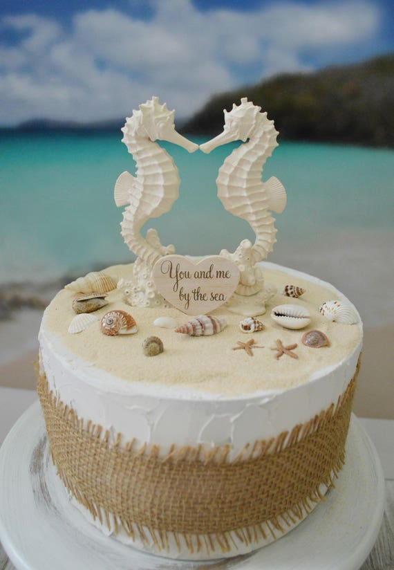 Seahorse wedding cake topper bride and groom beach themed